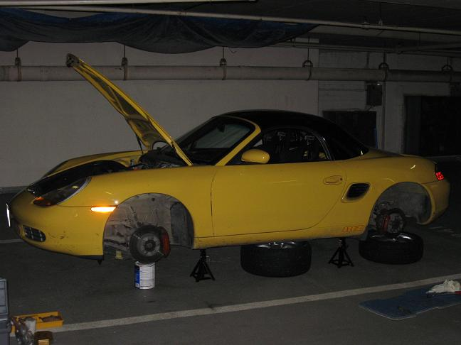 On jack stands with paint cans propping up the suspension