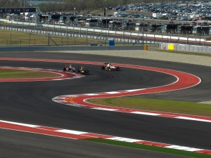 Vettel was blocked by a backmarket (Narain Karthikeyan), allowing Hamilton to close the gap and make the pass in the next DRS zone for the race win.