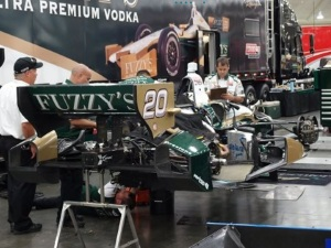 Ed Carpenter's car getting serviced