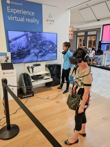 Mom trying out the HTC Vive